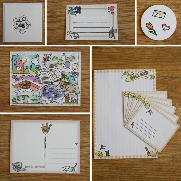 Beterschapkaart, etiket, stickers, kaart voor + achter, briefpapier + enveloppen